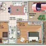 Pequeña y sencilla casa cuadrada en 110 metros