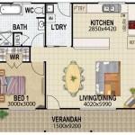 Plano de casa de 2 dormitorios con galería en el frente