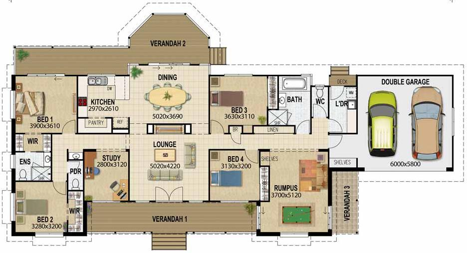 Plano de casa de 4 dormitorios con garage doble for Planos de casas medianas