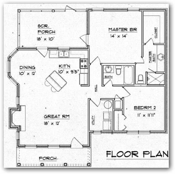 Plano de dos habitaciones 1 piso y 100 metros cuadrados - Planos de casas de 100 metros cuadrados ...