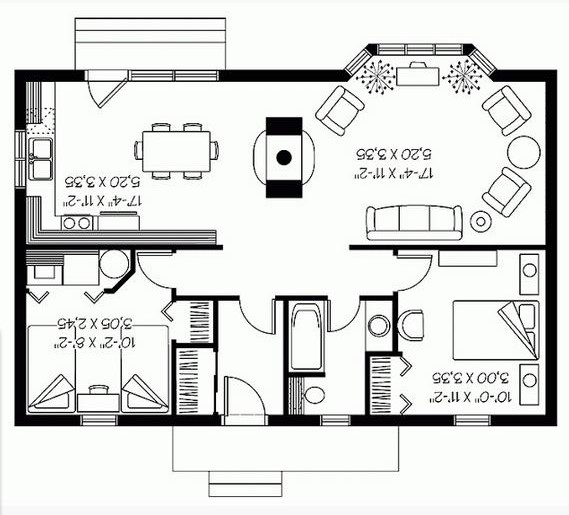 Plano-de-casa-de-dos-habitaciones-con-bowindow