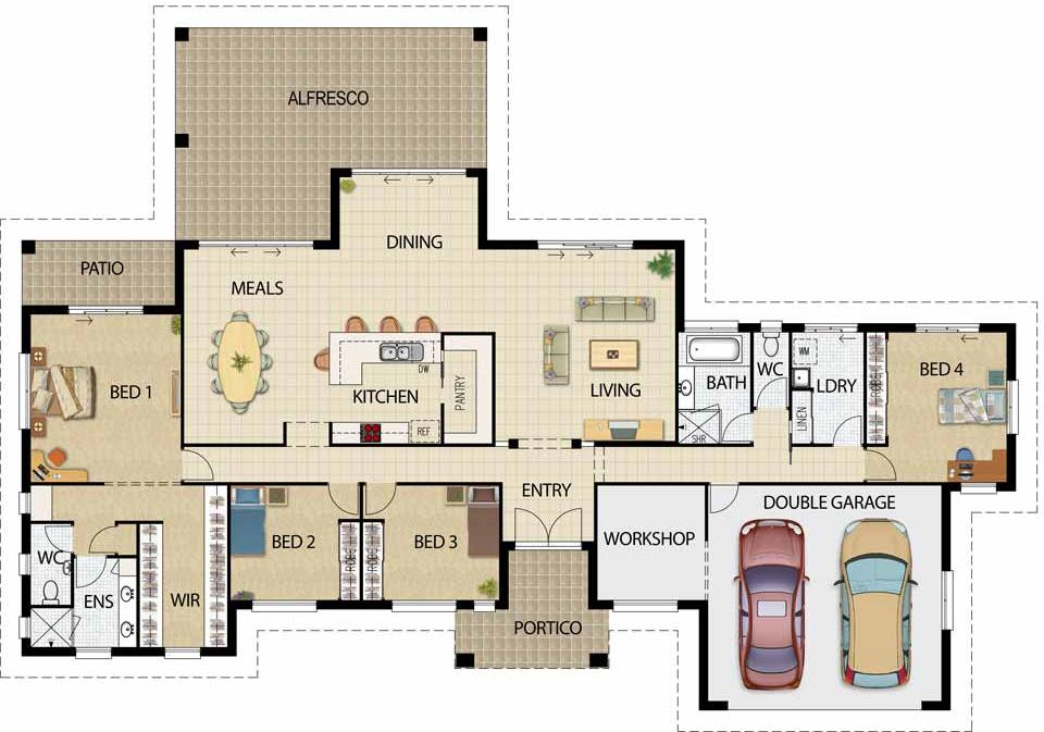 Plano de casa grande con 4 dormitorios y cochera para 2 - Planos de casas pareadas ...