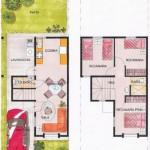 Plano de casa moderna en dos plantas