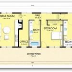 Plano de casa de dos dormitorios en un solo bloque