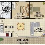 Plano de casa moderna y grande con 4 dormitorios y 3 baños
