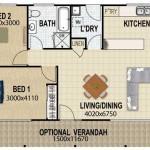 Plano de casa pequeña con 2 dormitorios y lavadero