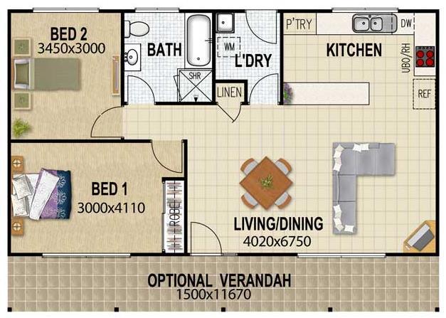 Casa con cocina comedor bano dormitorio lavadero plano 3d for Lavaderos para casa