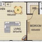 Plano de departamento de 36 metros cuadrados