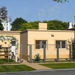 Plano de casa de 3 dormitorios, 2 baño y jardín frontal
