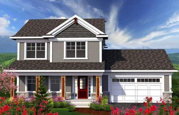 Fachada de casa tradicional con garage doble