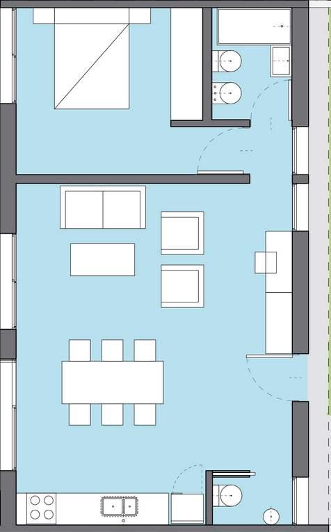 Plano de casa ancha y corta de 1 dormitorio for Diseno de casa de 5 x 10