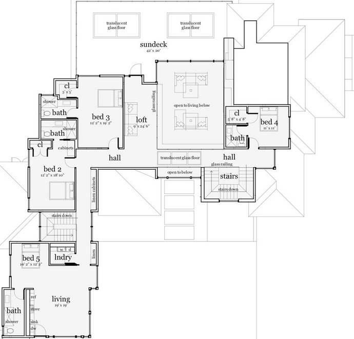 Plano de casa moderna con terminaciones piedra y piscina for Plano de casa quinta moderna