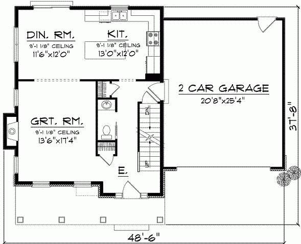 Plano de casa tradicional con garage doble