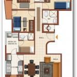 Plano de departamento de 3 habitaciones con vista al mar