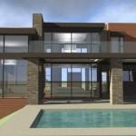 Plano de casa moderna con terminaciones piedra y piscina