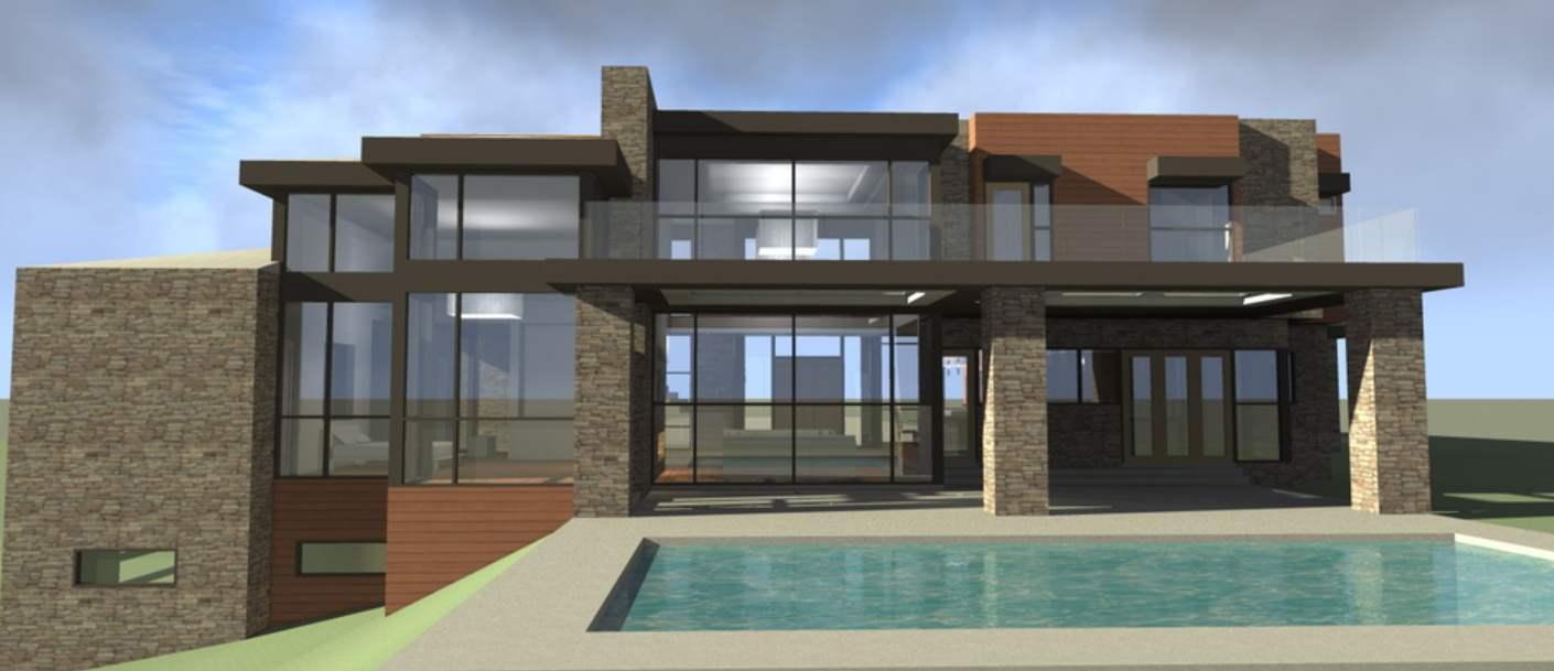 Plano de casa moderna con terminaciones piedra y piscina - Casas modulares de lujo ...