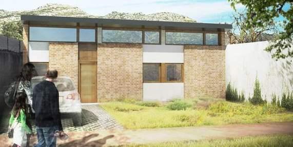 fachada de casa ancha y corta de 1 dormitorio