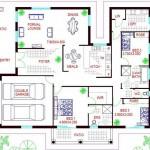 Plano de casa con 3 dormitorios y garaje para 2 vehículos