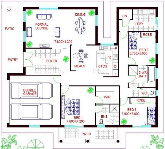 Plano de casa con 3 dormitorios y garaje para 2 veh culos - Casas para familias numerosas ...