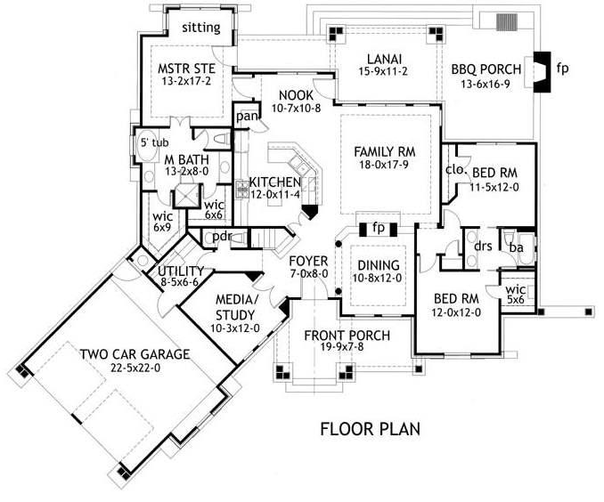 Plano de casa amplia y moderna