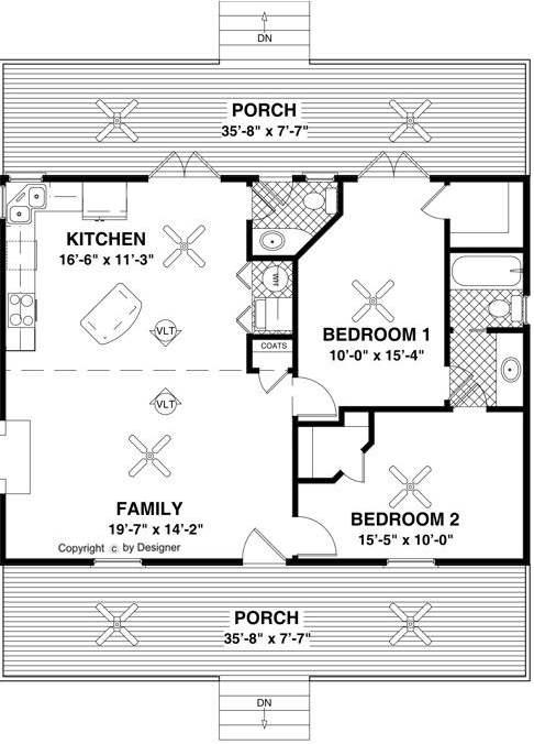 Plano de casa elevada con porche frontal