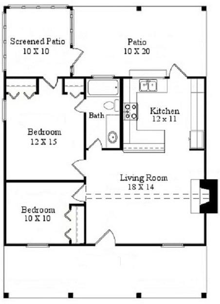 Plano-de-casa-de-2-dormitorios-para-vacacionar