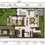 Plano de casa de 2 plantas y 5 dormitorios con garage