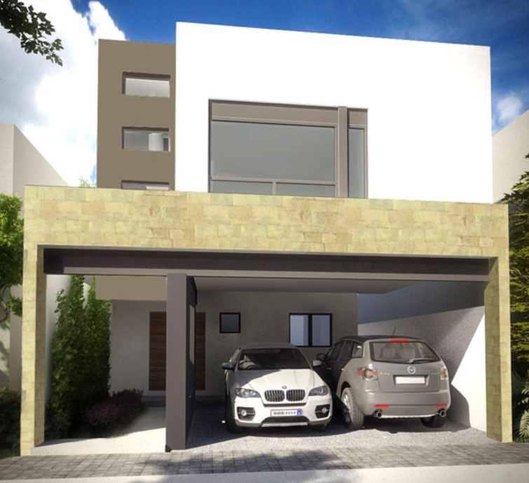 Fachada de doble piso con cochera en el lado derecho for Pisos para cochera