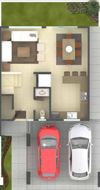 Plano de casa de 3 pisos y cochera doble