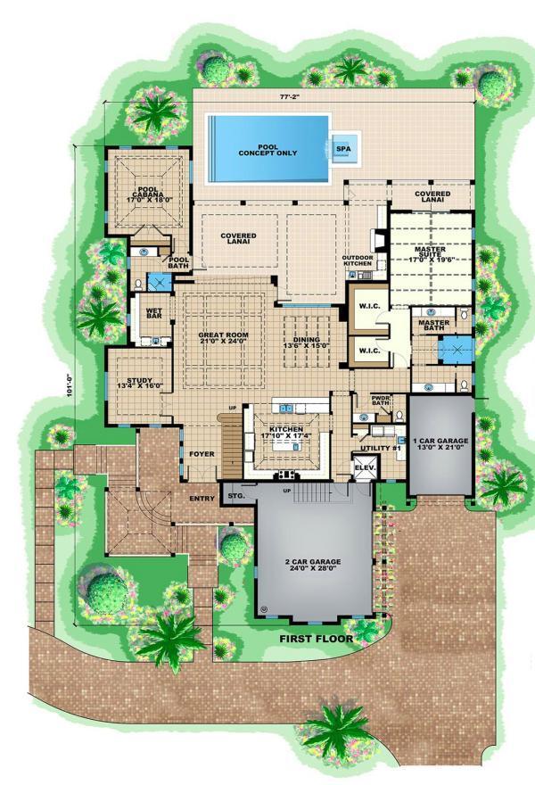 Plano de casa lujosa for Casa moderna y lujosa