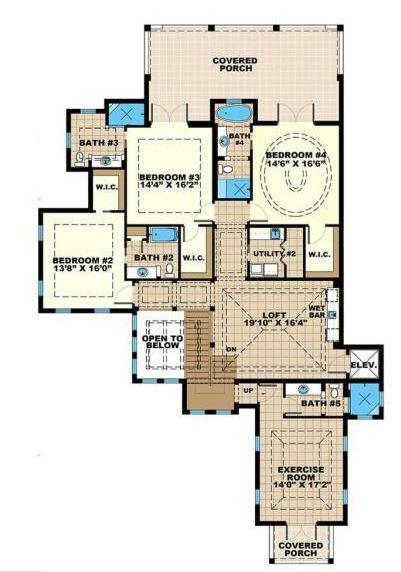 Plano de mansión de 4 dormitorios