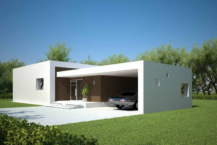 Plano de casa minimalista con piscina for Casas de madera con piscina