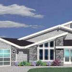 Plano de casa moderna de 4 dormitorios y 2 oficinas