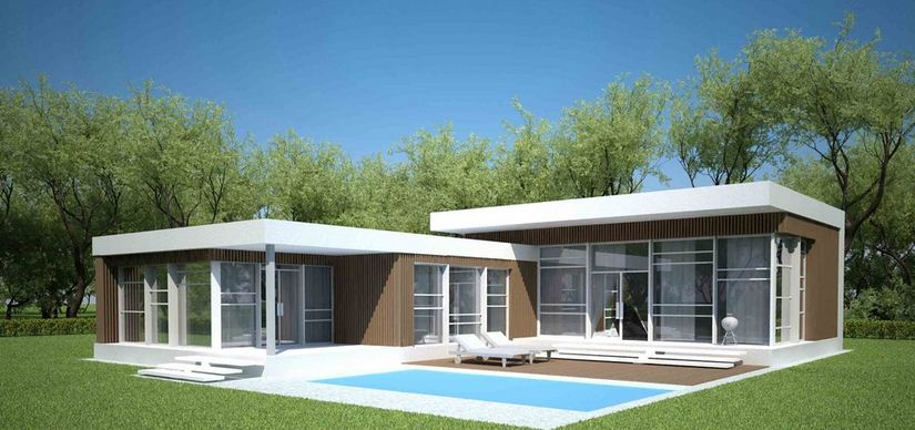 Parte trasera de casa minimalista con piscina