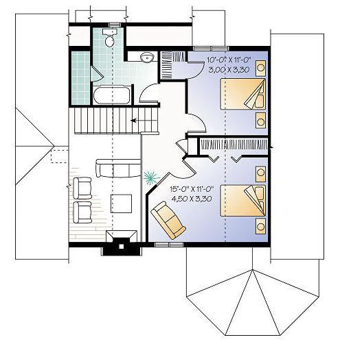 Plano de casa estilo victoriano de 3 dormitorios