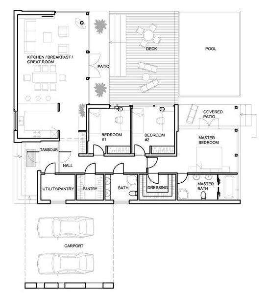 plano de casa minimalista con piscina
