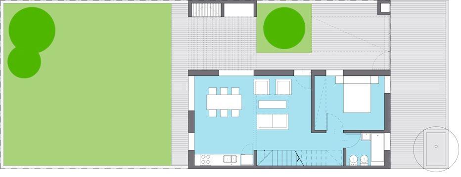 Plano de casa Azucena Plan PROCREAR 2 dormitorios