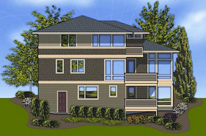 Plano de casa de 2 pisos y tres dormitorios