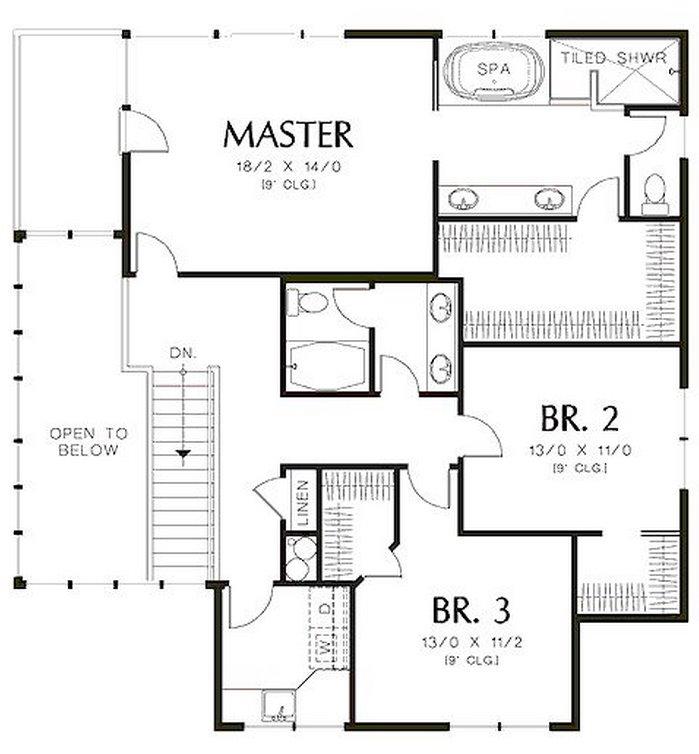 Plano de casa de dos pisos y 3 dormitorios