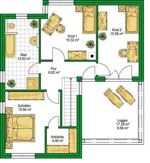 Plano de casa de dos plantasy 4 dormitorios