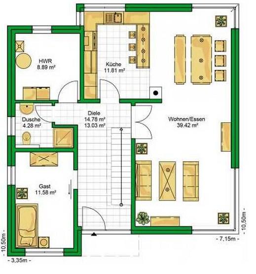 Quinta de dos planta con porche ovalado for Plano de casa quinta moderna