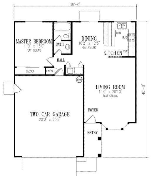 Plano de casa de un dormitorio con garaje doble