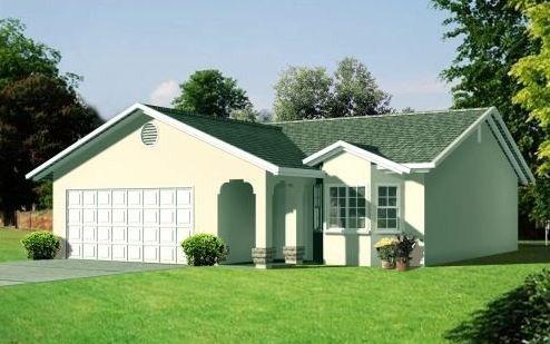 Plano de casa de un dormitorio y garaje doble