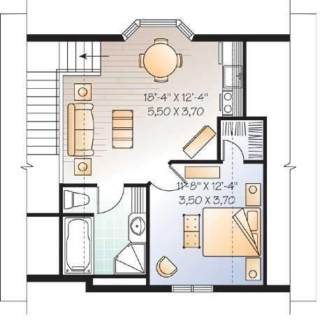 Plano de casa pequeña de 2 pisos y 1 dormitorio