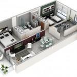 Plano de departamento rectangular de 2 dormitorios y 1 baño