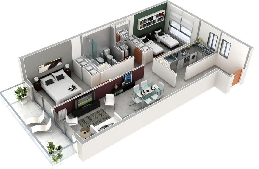 Plano de departamento rectangular de 2 dormitorios y 1 ba o for Planos de cocina en 3d