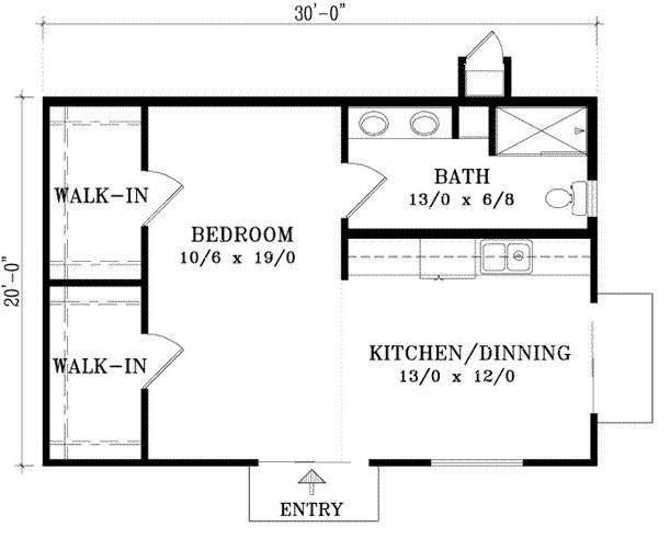 Plano de rancho sencillo de 1 dormitorio