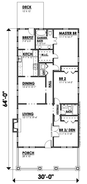 Plano de bungalow sin cochera