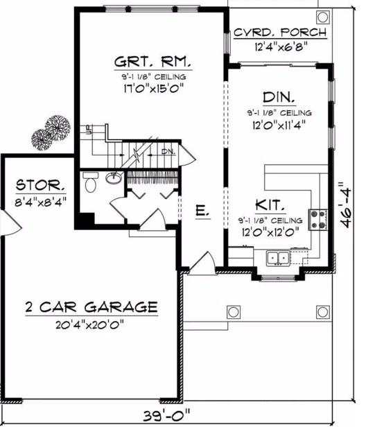 Plano de casa de 2 pisos y cochera frontal