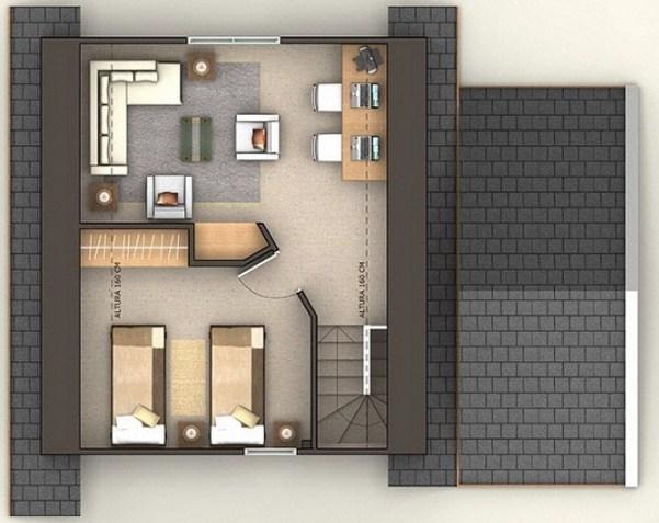 Plano de casa de tres pisos con oficina